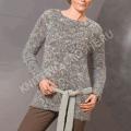 Вязаный женский джемпер с поясом